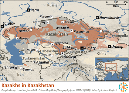 Map of Kazakh in Kazakhstan