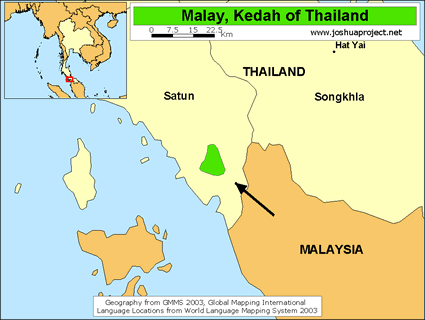 Map of Malay, Kedah in Thailand