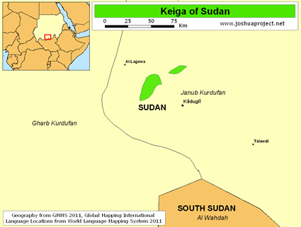 Map of Keiga in Sudan