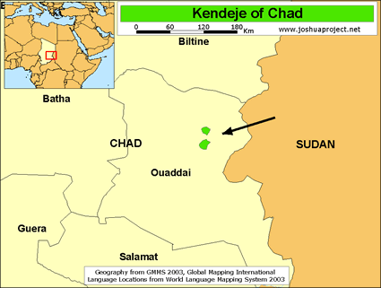 Map of Kendeje in Chad