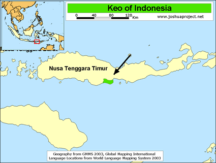 Map of Keo in Indonesia