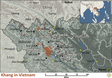 Map of Khang in Vietnam