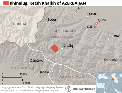 Map of Khinalug, Ketsh Khalkh in Azerbaijan