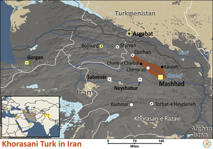 Map of Khorasani Turk in Iran