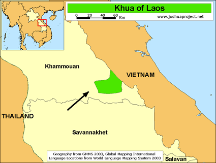 Map of Khua in Laos