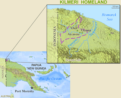 Map of Kilmera in Papua New Guinea