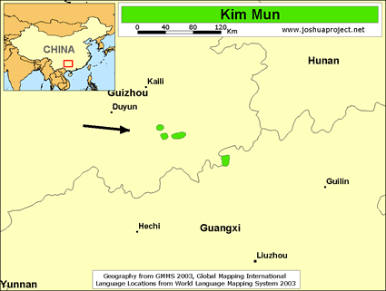 Map of Kim Mun in China