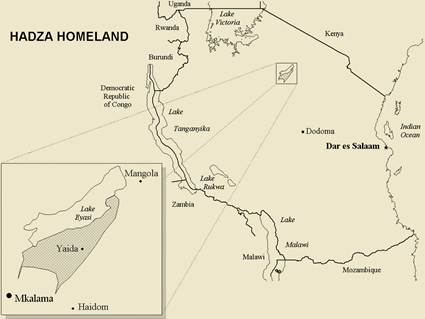 Map of Hadzabi in Tanzania