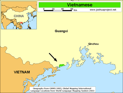 Map of Jing, Vietnamese in China