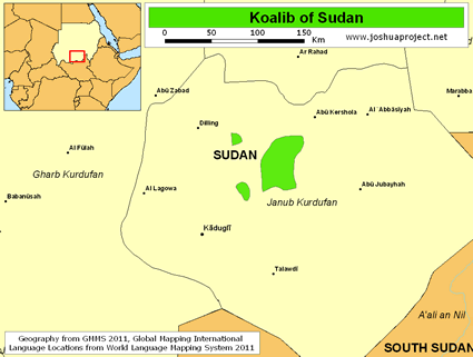 Map of Koalib in Sudan