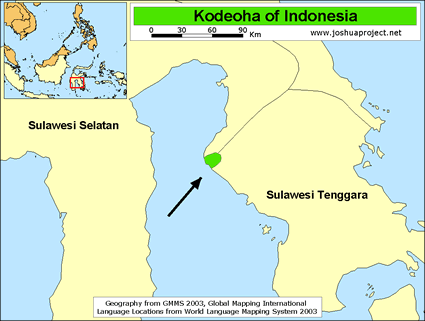 Map of Kodeoha in Indonesia