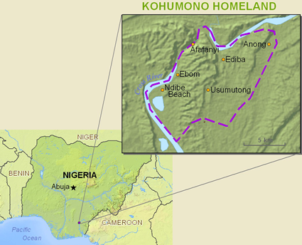 Map of Kohumono, Bahumono in Nigeria