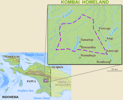 Map of Kombai in Indonesia