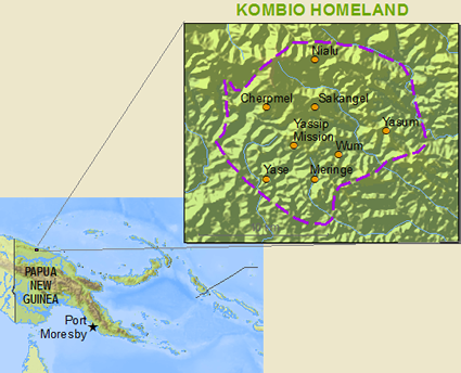 Map of Kombio in Papua New Guinea