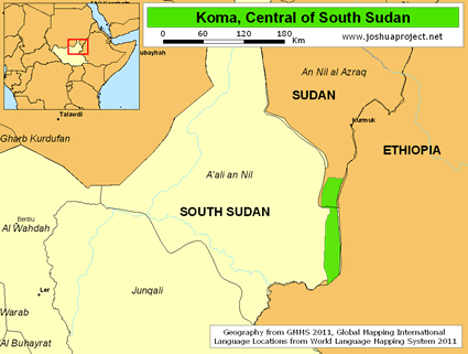 Map of Komo in South Sudan