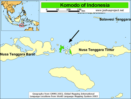 Map of Komodo in Indonesia