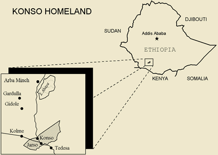 Map of Konso in Kenya