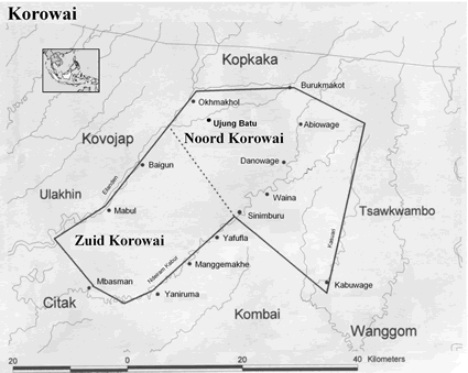 Map of Korowai in Indonesia