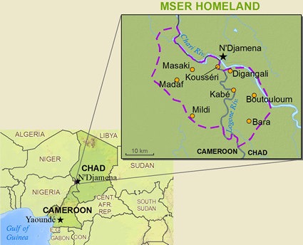 Map of Kotoko, Mser in Chad