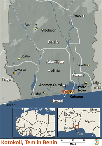 Map of Kotokoli, Tem in Benin