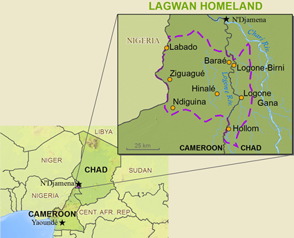 Map of Kotoko, Lagwan in Chad