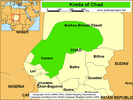 Map of Kreda in Chad