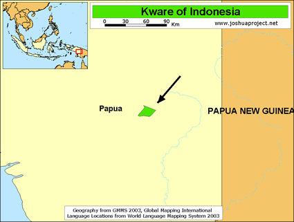 Map of Kware in Indonesia