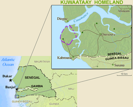 Map of Jola-Kwatay in Senegal