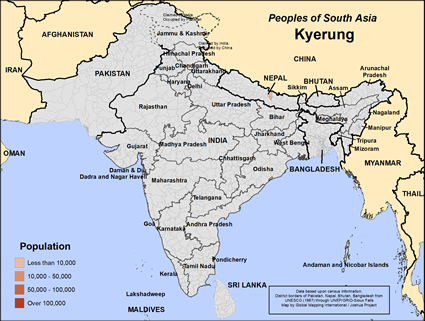 Map of Kyerung in Nepal