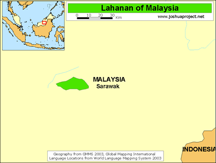 Map of Lahanan in Malaysia