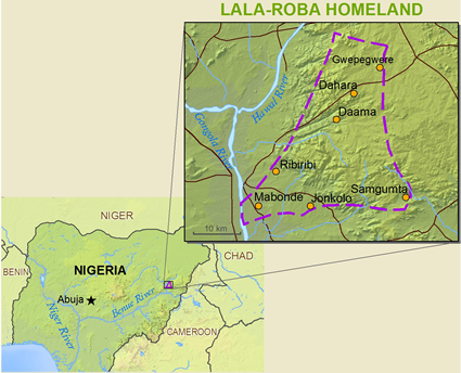 Map of Lala-Roba, Gworam in Nigeria