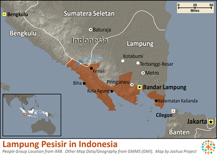 Map of Lampung Pesisir in Indonesia