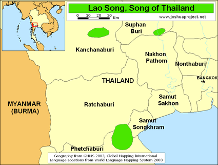 Map of Lao Song in Thailand