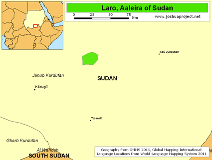 Map of Laru, Al-leira in Sudan