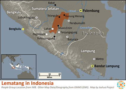 Map of Lematang in Indonesia