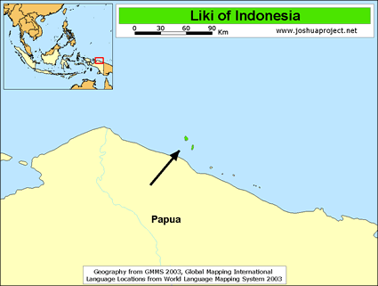 Map of Liki in Indonesia