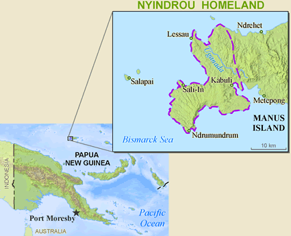 Map of Lindrou, Nyindrou in Papua New Guinea