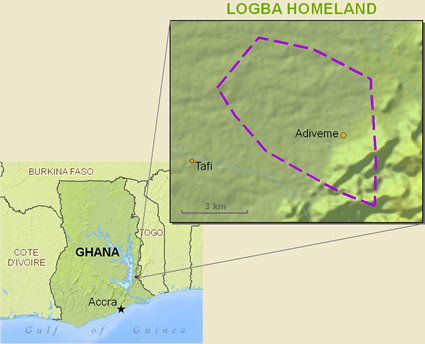 Map of Logba in Ghana