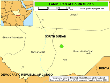 Map of Lafon, Pari in South Sudan