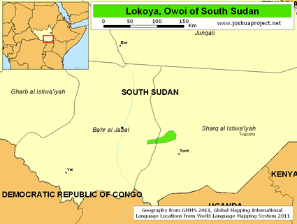 Map of Lokoya, Owoi in South Sudan