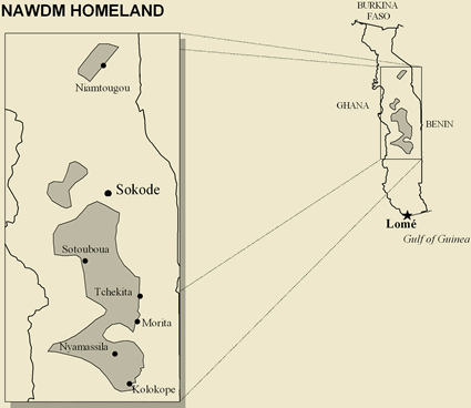 Map of Nawdm in Togo