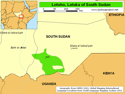 Map of Lotuho, Latuka in South Sudan