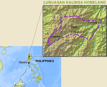Map of Kalinga, Lubuagan in Philippines