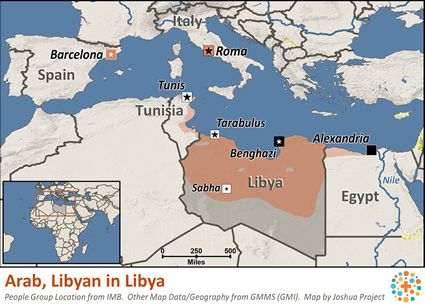 Libya To Italy Map.Arab Libyan In Libya Joshua Project