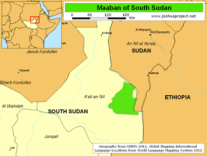 Map of Maaban in South Sudan