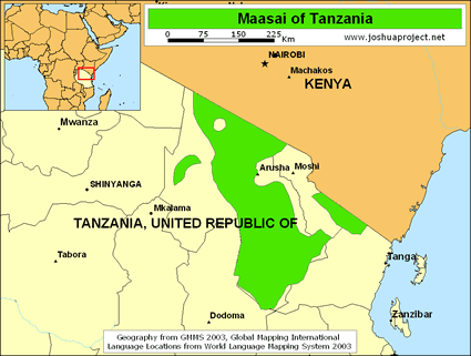 Map of Maasai in Tanzania