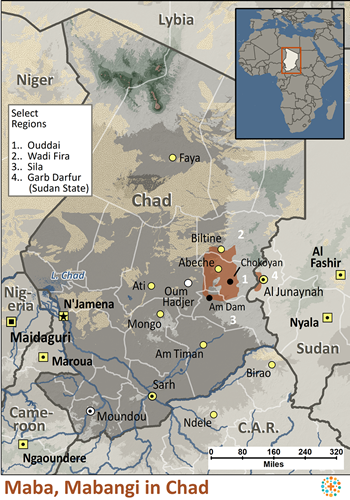 Map of Maba, Mabangi in Chad