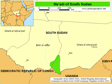 Map of Ma'adi in South Sudan