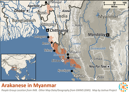 Map of Rakhine, Arakanese in Myanmar (Burma)