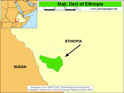 Map of Dizi in Ethiopia